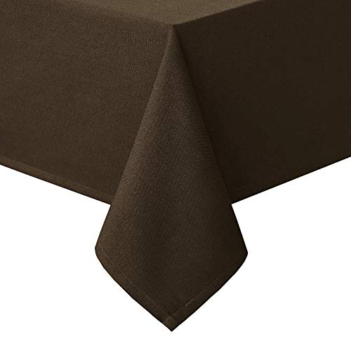 Homedocr Faux Linen Rectangle Tablecloth - Wrinkle Resistant and Washable Polyester Table Cloth for Dining Room and Kitchen, 52 x 70 Inches, Brown