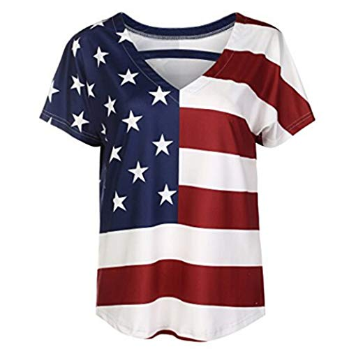- WILLBE Women's American Flag Shirt 4th of July Patriotic Blouse T Shirt Women's Loose Striped Tops Print T-Shirt Top Red