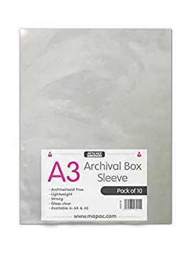 A4 A3 A2 Archival Sleeves Acid Free Pack Of (10) (A3) by Mapac