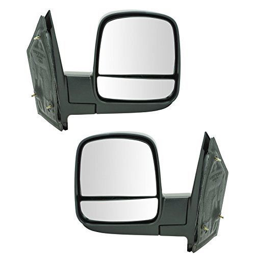 Side Mirror Manual Left & Right Pair Set for 08-13 Chevy Express GMC Savana Van