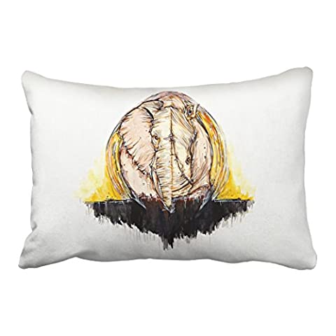 Emvency Decorative Throw Pillowcase Queen 20x30 Inches Abstract Elephant And Rhinoceros Watercolor Cotton Pillow Cover With Hidden Zipper Decor - Round Sterling Silver Wire Basket