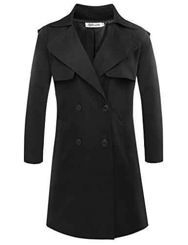 Aphratti Women's Elegant Double-Breasted Trench Coat Medium Black