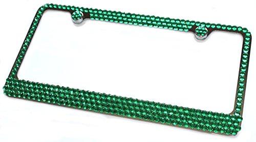 bling license plate frame green - 4