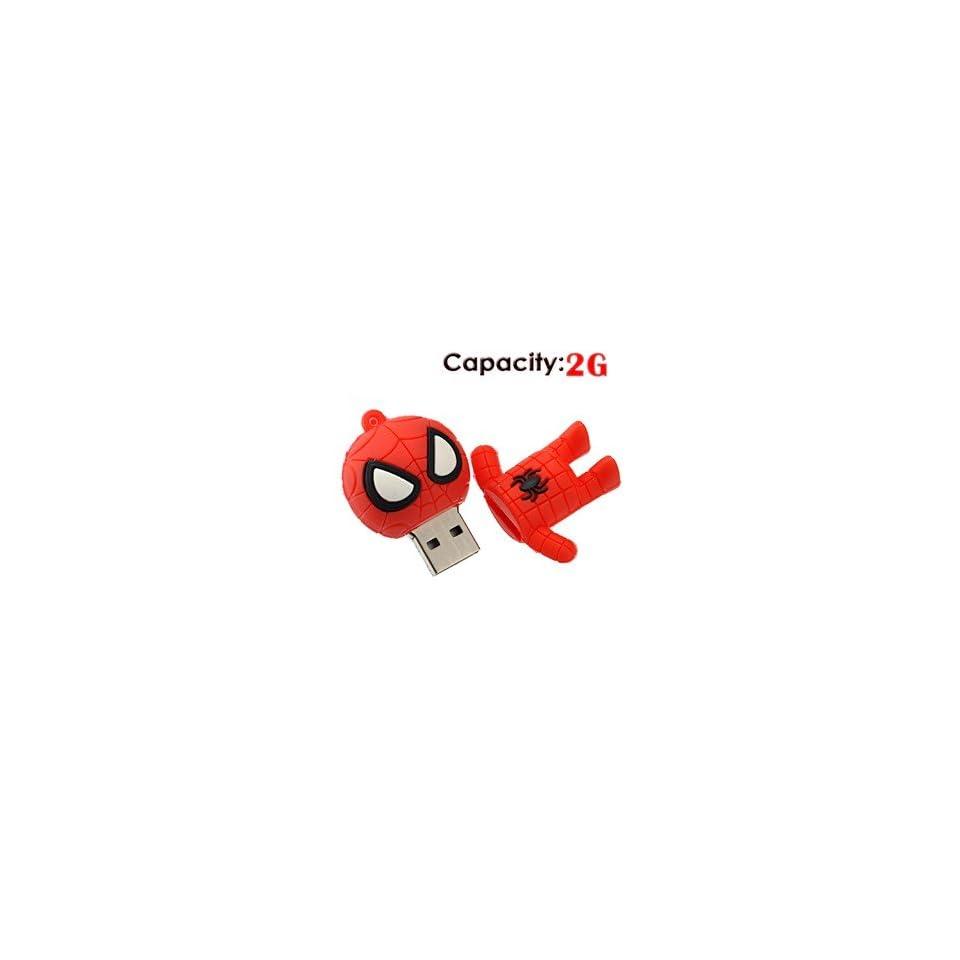 2G Small Cartoon Spider Man Shape Rubber USB Flash Drive (Red)