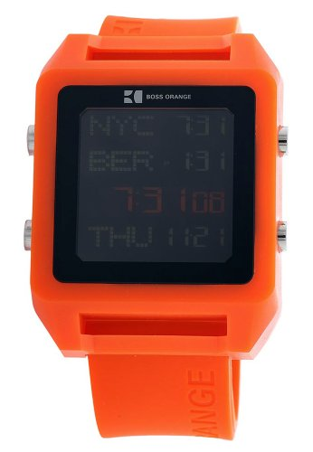 1afb0b7b2b2b Hugo Boss Orange 1512816 Unisex Watch Digital Quartz Black Rubber Strap  Orange Dial  Amazon.co.uk  Watches