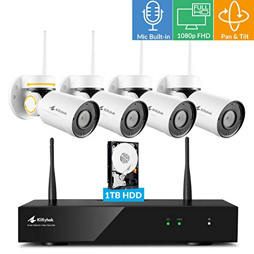 ([Pan Tilt & Built-in Audio] Kittyhok 1080p FHD Pan Tilt Wireless Security Camera System Outdoor 1TB HDD w/ 8CH NVR, 4pcs WiFi PT Cameras, 4x Digital Zoom, Night Vision, Easy Mobile View & Control)