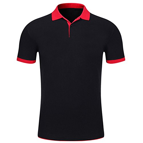 (PASATO Summer Men Causal Short Sleeve Comfy Solid Slim Button Standing Collar Muscle Blouse T-Shirt Top (Black,XL=US:L))