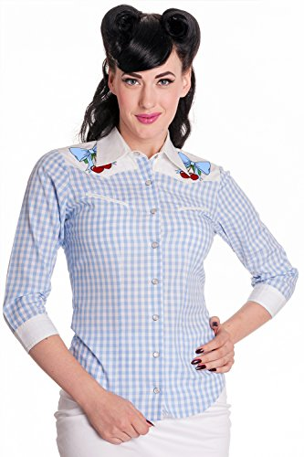 Hell-Bunny-Western-Cowgirl-Blue-Gingham-Check-w-Cherry-Patch-Shirt