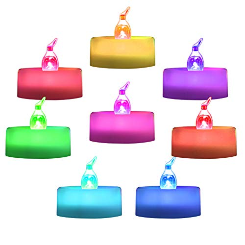 Beichi 24 Pack Color Changing LED Tea Lights, Flameless Tealight Candles with Colorful Lights, Battery Operated Colored Fake Candles for Weeding, Party and Christmas, No Flickering Light, White Base ()