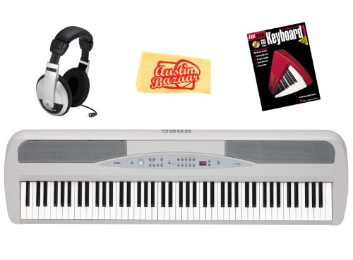 Korg SP280WH 88 Key Digital Piano with Stand and Pedal Bundle with Headphones, Instructional Book, and Polishing Cloth - White