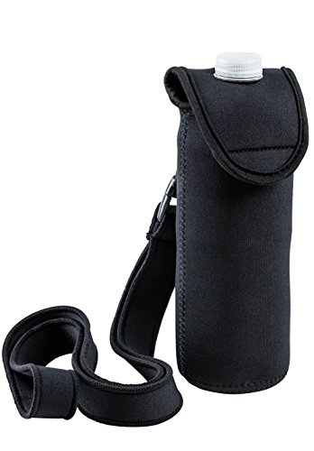 SrongFitt™ - Enjoy Your Walk - Neoprene Bottle Carrier - Detachable, And Adjustable Strap - Insulated Drink Holder - Black - Water Bottle holder, for Stainless Steel/Plastic Bottles. (Plastic Carrier Bottle Water)
