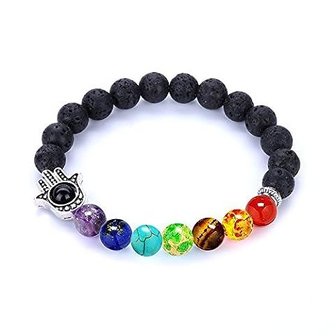 Bangle,PWMEN 8MM Beads Bracelet for Men Women Lava Rock Stone Energy Bracelet Elastic(Sliver Hamsa - Onyx Stone Bangles