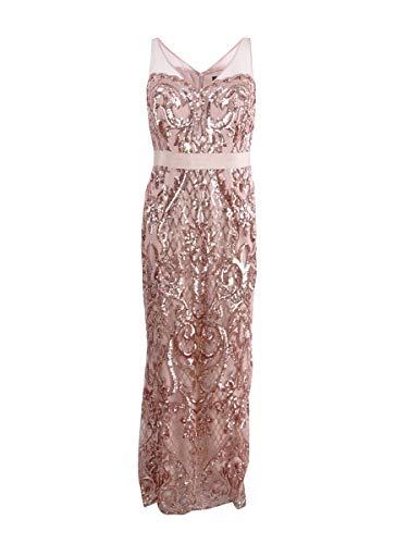 Adrianna Papell Women's Sequin Mermaid Dress, Rosegold, 4