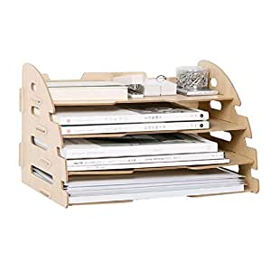 Wood Hand Made Desk Organizer Office School Supplies 4 Layers File Tray Book Holder File/document Storage Box