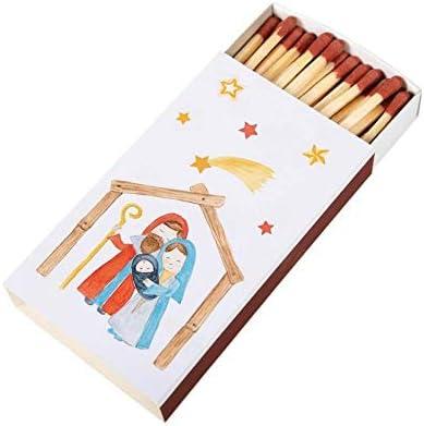 Christliche Geschenkideen Cerillas navideñas de cerillas, 9,5 cm, Caja de cerillas, diseño de belén: Amazon.es: Hogar