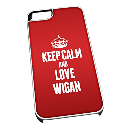 Bianco cover per iPhone 5/5S 0713Red Keep Calm and Love Wigan