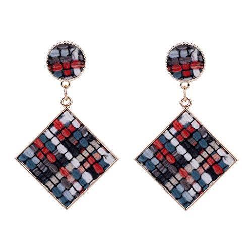 CapsA Women Popular Diamond Earrings Creative Hand Woven Geometric Shape Plush Earrings (B) ()