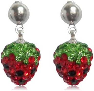 GiftJewelryShop 12MM Sterling Silver Plated Red Strawberries Crystal Bead Dangle Earrings