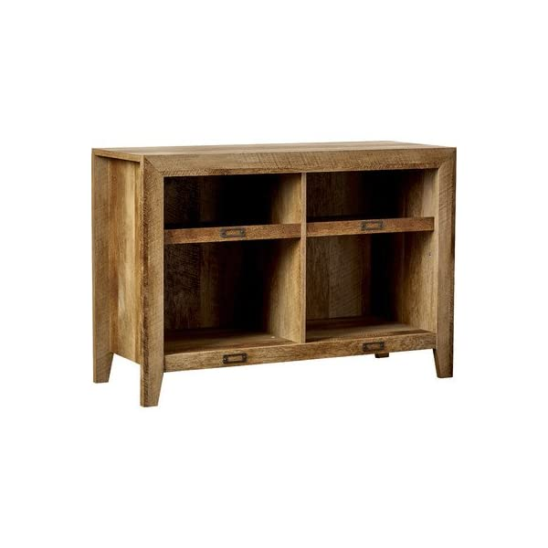 "French Country Farmhouse Style 42"" TV Stand With Adjustable Open Shelves, Presented In A Rustic Craftsman Oak Finish, Ideal For Media Consoles or Accents"