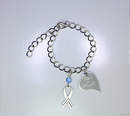 Personalized Bullying Awareness Ribbon Bracelet - Bullying Support Jewelry - Heart Charm with Your Personalized Message
