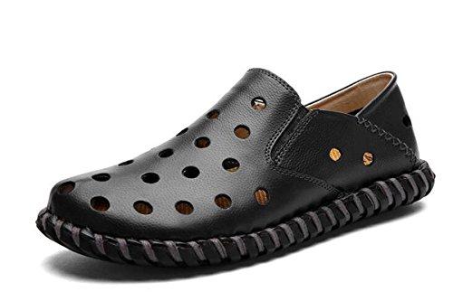 Beauqueen Hombres Crocs ligero de conducción casual cueros hilo de coser hueco transpirable superior suave suelas zapatos ocasionales UE tamaño 38-44 Black