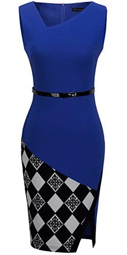 HOMEYEE - Vestido - Ajustado Cuadrados Cutaway - Sin mangas - para mujer B290 Azul