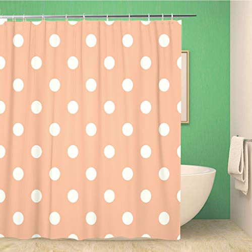 Awowee Bathroom Shower Curtain Colorful Abstract Polka Dot in Retro Circle Cute Geometric Polyester Fabric 60x72 inches Waterproof Bath Curtain Set with Hooks (Garden Pin Dot Fabric)