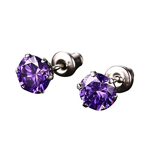 Happy Hours - 1 Pair Sparkling Crystal Stud Earrings / 6mm Bling Rhinestone Stainless Steel Eardrop / High Polish Shiny Jewelry Accessories(Purple)