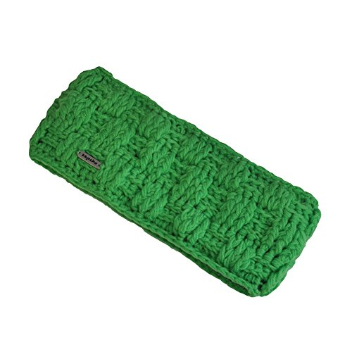 Toutacoo, Hand-knitted Nepalese Headband with Fleece Inner Lining 5-Green