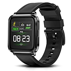 Fitness Tracker Watch with Heart Rate Monitor Function and Blood Oxygen Meter. IP68 Swimming Waterproof Smartwatch Compatible with iPhone Android Phones DIY Clock Faces Black.  Smart Tickers