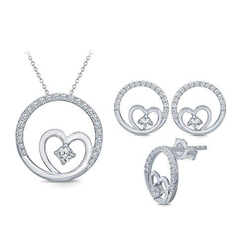 La Joya Sterling Silver Circle of Love Heart Pendant & Earring Simulated White Diamond CZ Bridesmaid Bridal Jewelry Set for Womens