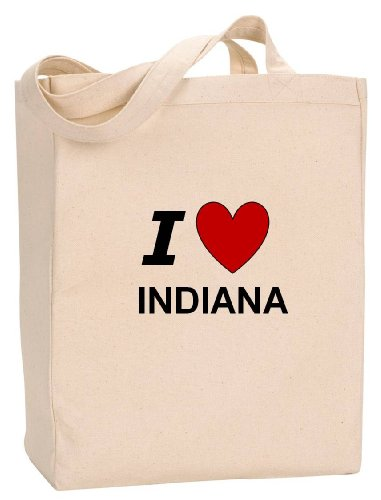 I LOVE INDIANA - State Series - Natural Canvas Tote Bag with - Shopping Lafayette Indiana