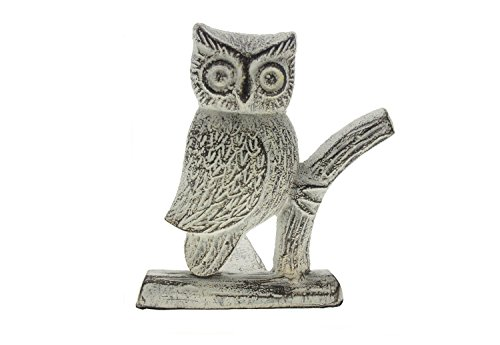 "Comfify Cast Iron Owl Door Stop | Decorative Door Stopper Wedge | with Padded Anti-scratch Felt Bottom | Vintage Design | 6x6.5x6.3"" by (Antique White) by Comfify"