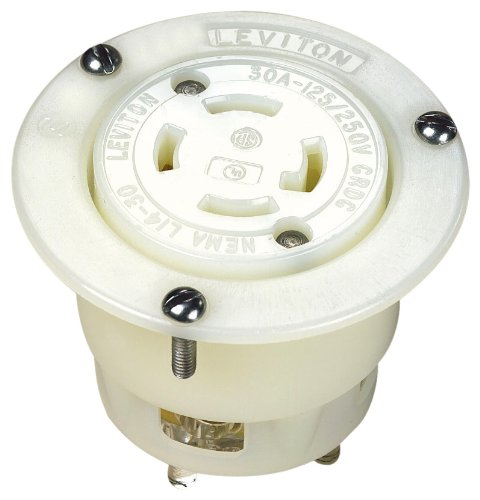 Leviton 2716 30-Amp, 125/250 Volt, Flanged Outlet Locking Receptacle, Industrial Grade, Grounding, White