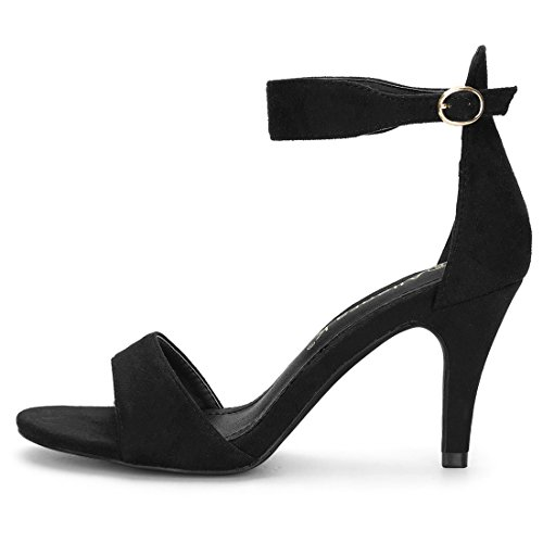 Allegra K Women's Ankle Strap Stiletto Heel Sandals Black FmnbT