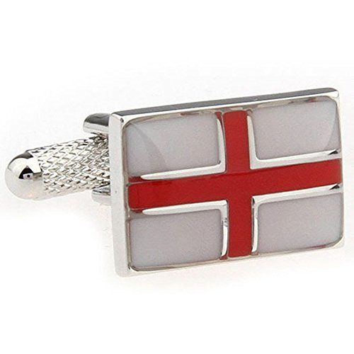 English Enamel Cufflinks - Mens Executive Cufflinks European Traveler England Enamel St George Cross English Flag Cuff Links