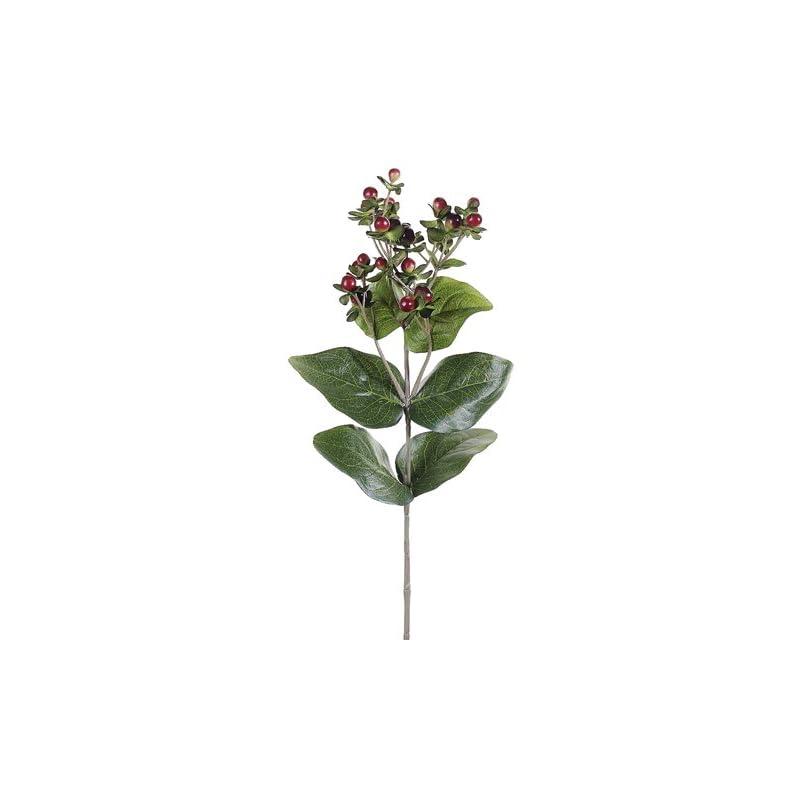 "silk flower arrangements 27.5"" hypericum berry spray two tone burgundy (pack of 12)"