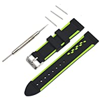 Rerii 22mm Sporting Silicone Watch Band Strap for Motorola Moto 360 2 46mm / Samsung Galaxy Gear 2 R380,Gear 2 Neo R381,Gear 2 Live R382 / LG G Watch W100,R W110,Urbane W150 / ASUS ZenWatch (Green)
