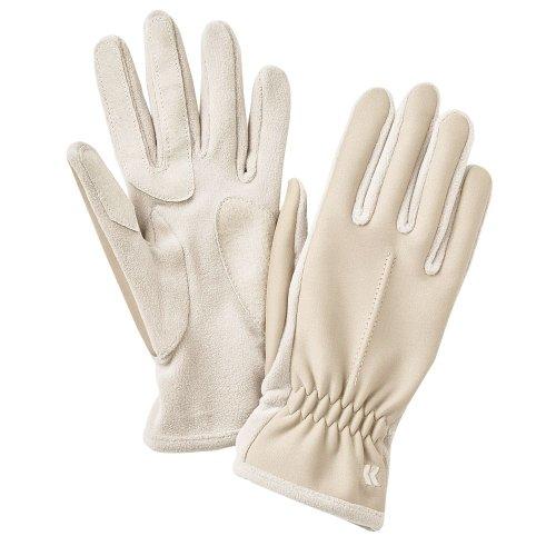 Isotonerレディースアイボリーライクラストレッチ手袋withフリース&スエードアクセントタン