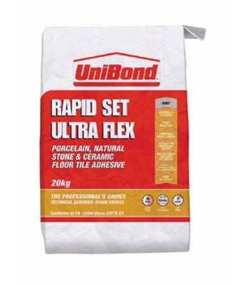 Unibond Rapid Set Ultra Flex Floor Tile Adhesive Grey 20kg Internal