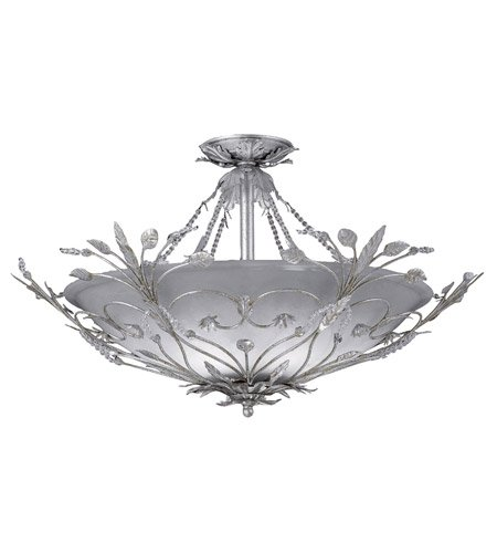 - Semi Flush Mounts 6 Light With Silver Leaf Faceted Crystal Crystal Beads Wrought Iron 25 inch 360 Watts - World of Lighting