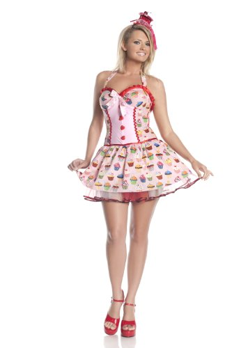 Hollywood Plus Size Costumes (Mystery House Plus Size Cupcake Girl Costume, Print, 1X)