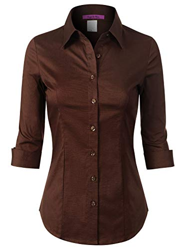 (Design by Olivia Women's 3/4 Sleeve Stretchy Button Down Collar Office Formal Casual Blouse Shirts Top Brown XL)