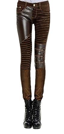JapanAttitude Pantalon marron rayé avec patchworks en cuir synthétique  steampunk - XL 0219109affce