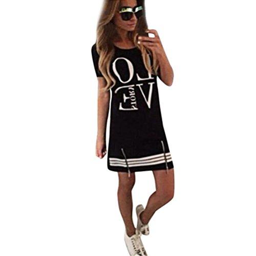 Wintialy Womens 2015LOVE Casual Zipper Love Printed Fashion Short Mini Beach Dress (Tiered Sparkle Dress)