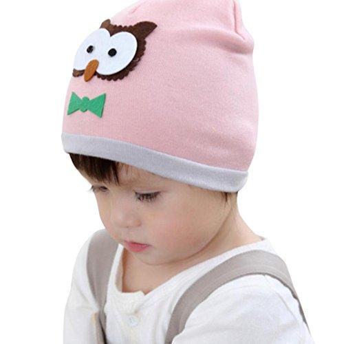 Cute Beanie Cap:Infant Baby Girl, Palarn Owl Pattern Warm Crochet Knit Hat (Pink)