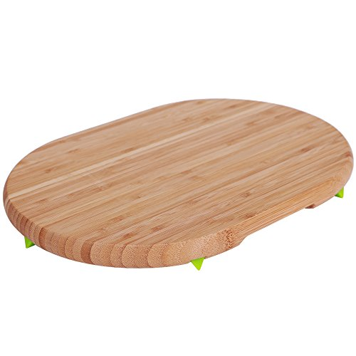 All Natural Oval Bamboo Cutting Board Bamboo Silicone Feet Kitchen Country Decor Bar Serving Board Cheese Plate Wood Serving Board Meat Vegetables Fruit Farmhouse 9.25 x 13 x 1 Inches