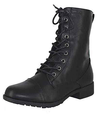 Forever Link Womens Mango Round Toe Military Lace up Knit Ankle Cuff Low Heel Combat Boots Black 7 B(M) US -