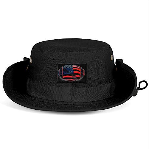 (LQIAO The USA Football American Flag Unisex Lightweight UV Protection Fisherman Bucket Sun Hat)