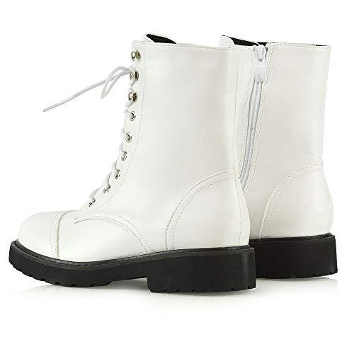 8 Militarty Dames Chunky Hiver Chaussures Blanc Combat Pour Bottes Cuir Biker 3 Arme Femmes Sole Taille Goth Lacets Bottines Grip Synthtique Rtro 07YUUx